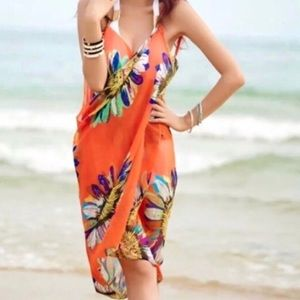 orange BEACH cover up bathing suit wrap DRESS swim